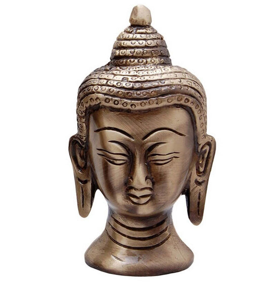 Metal Meditating Buddha Head with Curly Hair - EC-HJRMT3AG175
