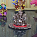 Metal Pagdi Lord Ganesha on Round Base - Brown - EC-HJRMT3AG183