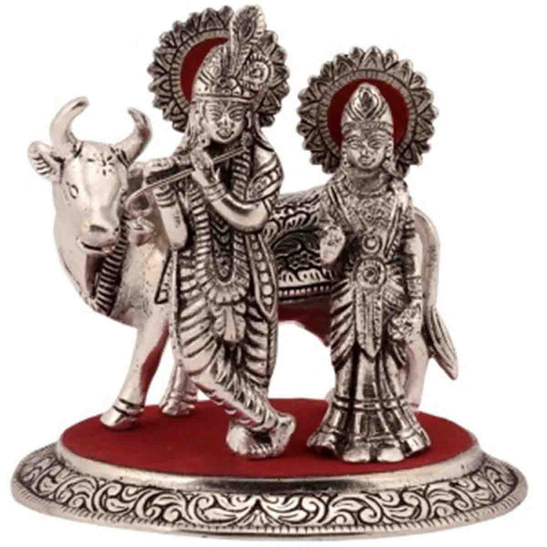 Metal Radha Krishna Statue With Cow-EC-HJRWME11M2