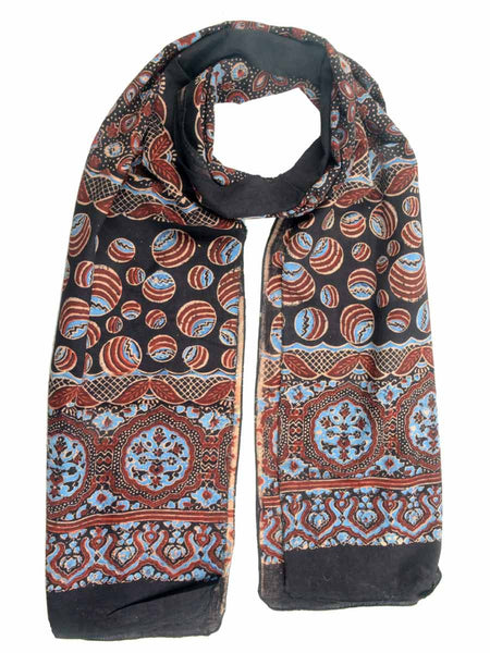 Ajrakh Print Stole From Gujarat In MultiColor - AL-HCKGS25MA13