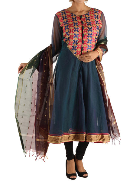 Phulkari Kurti With Dupatta In Navy Blue - PI-CPPK3SP10