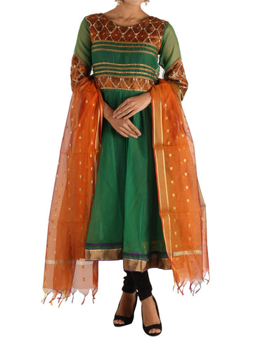 Phulkari Kurti With Dupatta In Green - PI-CPPK3SP12