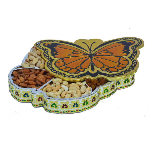 Metal Butterfly Design Dry Fruit Box with 5 Partitions - EC-HJRMM3AG6