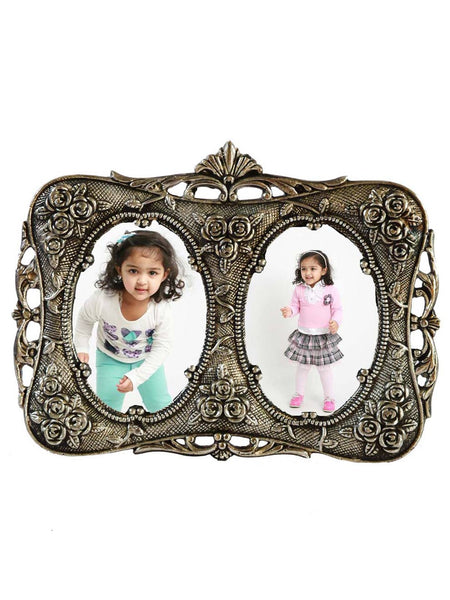 Metal Antique Finish Adorable Photo Frame For Two Photos-EC-HJRWME1SP31