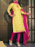 Yellow Chanderi Cotton Dress Material From Surat - TA-ASGS20SP2