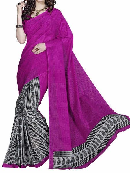 Cotton Printed  Sarees from Kolkata In Dark Pink - FPKSA20JL6