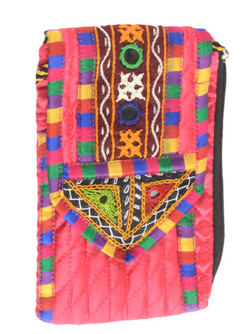 Kutch Embroidered Clutch From Gujarat In Pink - B1HKGM16JN1