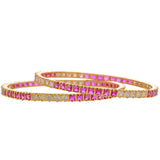 Red & Cz Stones Alloy Bangle - CHTB25AG15