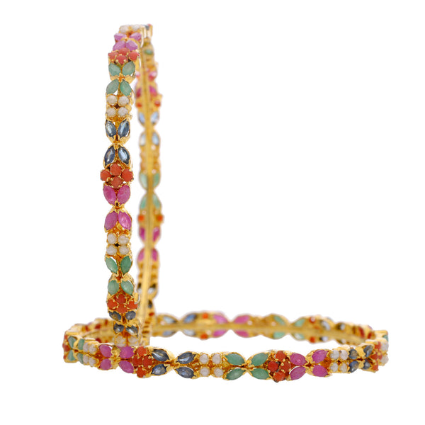 Pearls & Multi Stones Alloy Bangle - CHTB25AG25