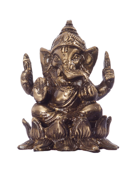 Antique Finish Brass Lord Ganesha on Lotus - EC-HJRME24MA214