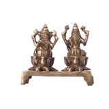 Antique Finish Brass Laxmi Ganesha on Lotus Base - EC-HJRME24MA219