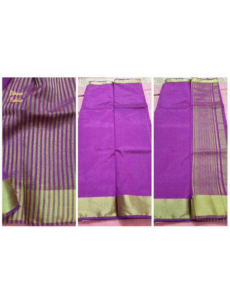Purple Banglore Silk Saree with Running Blouse Fabric  - AC-PSA11AG21