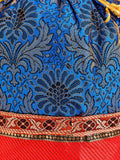 Banarasi Pouch In Blue & Red - S1-CBUB17FB1
