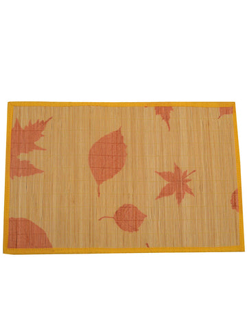 Bamboo Table Mats - Maple Leaf With Yellow/Orange Border - BHDPM26JN1