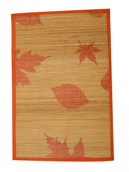 Bamboo Table Mats - Maple Leaf With Yellow/Orange Border - BHDPM26JN8