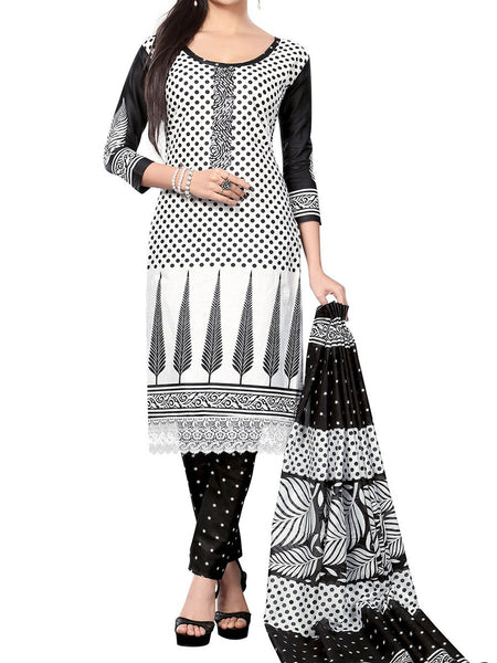 Cotton Suit From Kolkata In Black & White - FPKWA18MA11