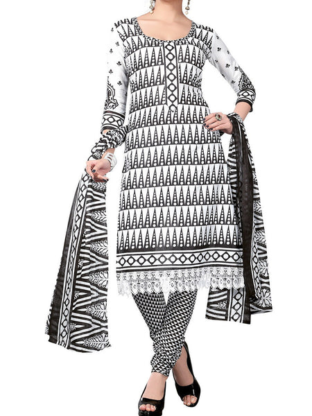 Cotton Suit From Kolkata In Black & White - FPKWA18MA14