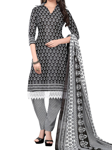 Cotton Suit From Kolkata In Black & White - FPKWA18MA19