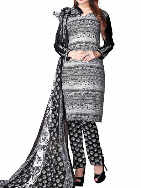 Cotton Suit From Kolkata In Black & White - FPKWA16JN6