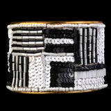 Moradabad Beaded Cuff Bracelet In Black &Amp; White-CHUJB1040