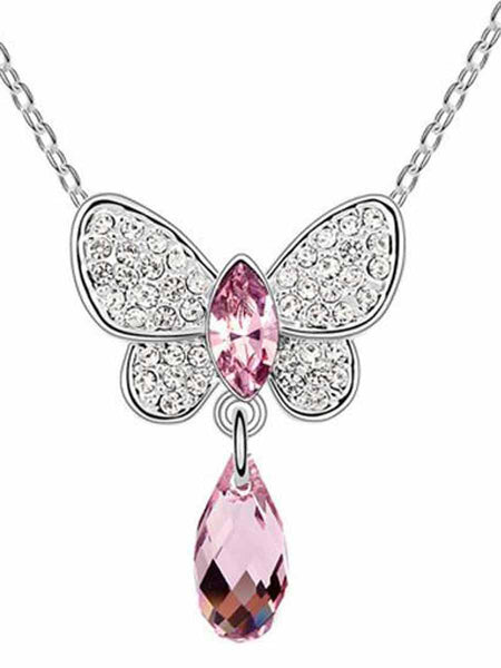 Butterfly Crystal Drop Necklace Light Purple - PH-CJN27AG2