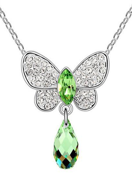 Butterfly Crystal Drop Necklace Olive - PH-CJN27AG3