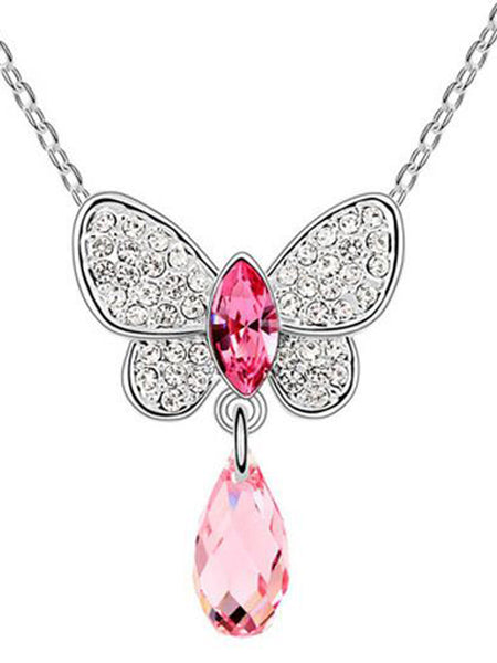 Butterfly Crystal Drop Necklace Pink - PH-CJN27AG4
