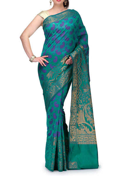 Banarasi Saree In Cotton Blend Rama Green - RB-BPBUSA11JL122