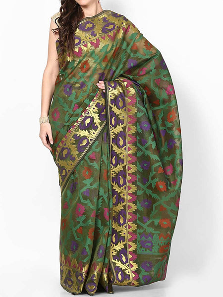 Banarasi Saree In Stripe Mehandi Green - RB-BPBUSA11JL167