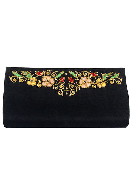 Zari Embroidered Clutch From Agra In Black - CAUC29AR5