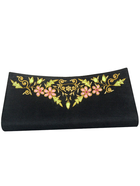 Zari Embroidered Clutch From Agra In Black - CAUC29AR6