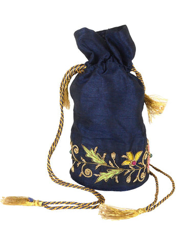 Zari Embroidered Potli Bag From Agra In Duke Blue - CAUP29AR3