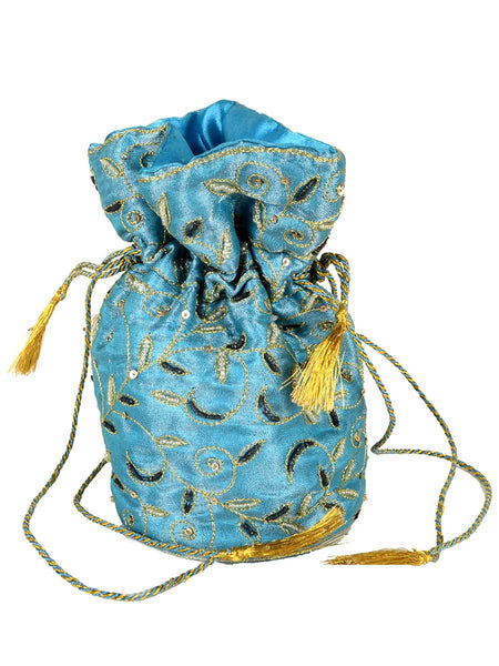 Zari Embroidered Potli Bag From Agra In Sky Blue - CAUP29AR6