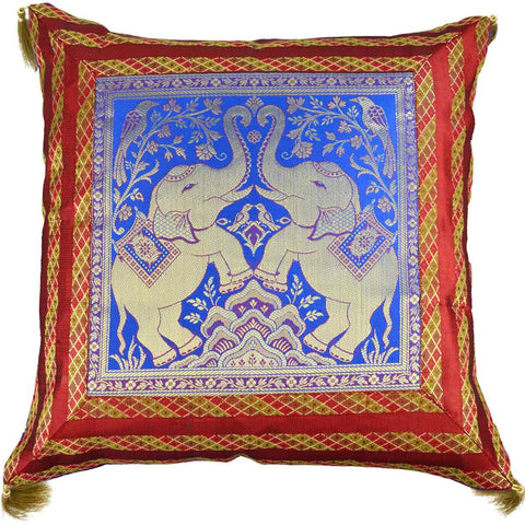 5 BANARASI CUSHION COVERS IN MAROON & BLUE WITH ELEPHANT DESIGN- S1-CBUC17FB3