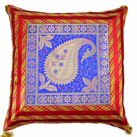 5 BANARASI CUSHION COVERS IN SCARLET RED & BLUE WITH KAIRY DESIGN - S1-CBUC17FB6