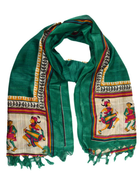 Art Silk Dupatta From Bhagalpur In Green - CBBD4MY41