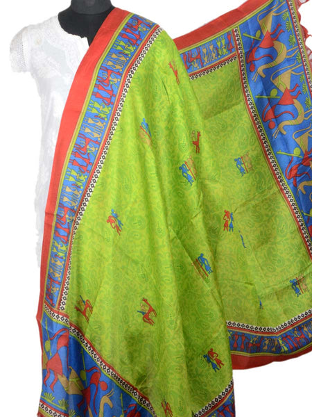 Art Silk Dupatta From Bhagalpur In Green - CBBD5AP24