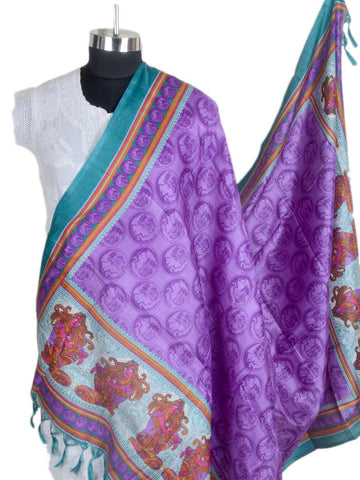 Art Silk Dupatta From Bhagalpur In Purple - CBBD4MY74