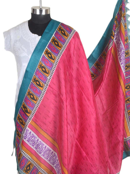 Art Silk Dupatta From Bhagalpur In Pink - CBBD4MY30