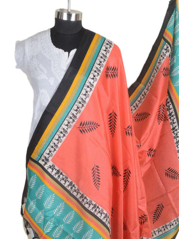 Art Silk Dupatta From Bhagalpur In Orange - CBBD4MY50