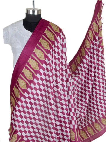 Art Silk Dupatta From Bhagalpur In Fandango Pink - CBBD7AP46