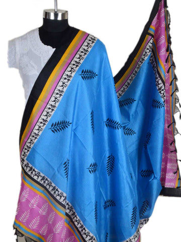 Art Silk Dupatta From Bhagalpur In True Blue - CBBD7AP49