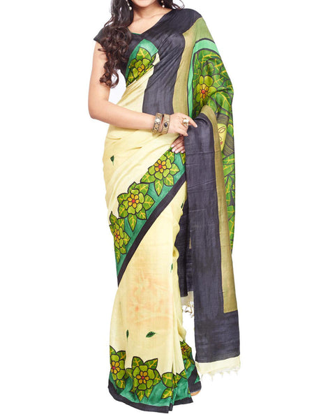 Pure Sonamukhi Silk  Saree From West Bengal - PWBSAI13AG4