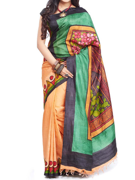 Pure Sonamukhi Silk  Saree From West Bengal - PWBSAI13AG10