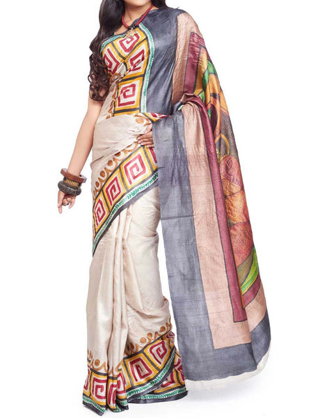 Pure Tasar Silk  Saree From West Bengal - PWBSAI13AG12