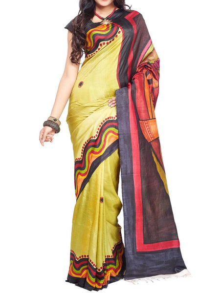 Pure Sonamukhi Silk  Saree From West Bengal - PWBSAI13AG13