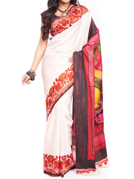 Pure Sonamukhi Silk  Saree From West Bengal - PWBSAI13AG14