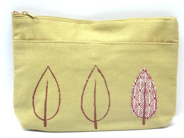 Beige Leaf Canvas Toiletry Pouch- CFMB21MH8