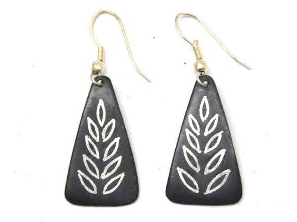 Black Bidri Earrings From Karnataka - CFME23MH12