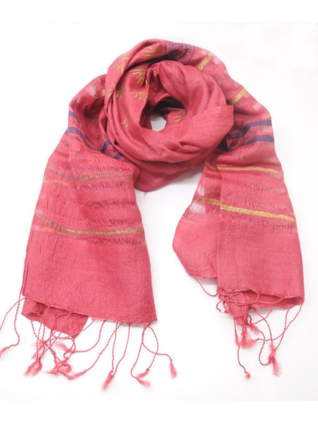 Red Tussar Silk Stole - CFMS21MH3